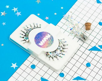 Glitter Eyelashes, Silver Glitter, False Eyelashes, Silver Eyelashes, Space Fancy Dress, Drag, Alien Costume, Festival Eyelashes, Vegan, MUA