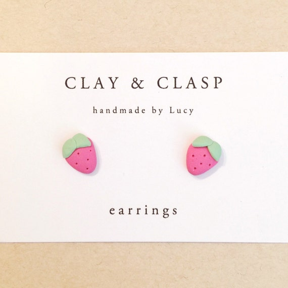 Pink Strawberry Earrings - beautiful handmade polymer clay jewellery by Clay & Clasp
