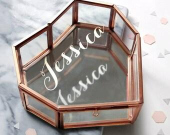 Rose Gold Heart Jewellery Box, Geometric Jewelry box, Personalised Name Trinket box, Rose Gold Heart Glass Jewelry Box With Name