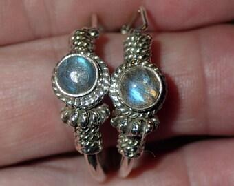 Labradorite gemstone Hoop Sterling  Earrings
