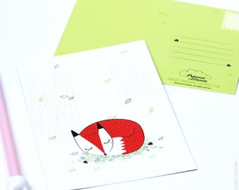 Sleeping Fox postcard card