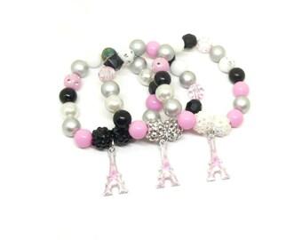 Eiffel Tower bracelets birthday party favors - Girls Paris party favors