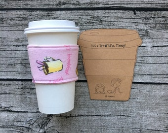 Coffee Cup Sleeve, Cozy 16 ounce Cozies for Tea, Latte, Hot Chocolate, Beverages, Cover with Breakfast Theme