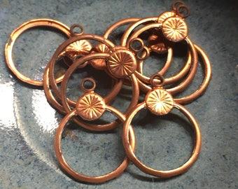 12 raw base metal rings with top loop copper tone findings vintage