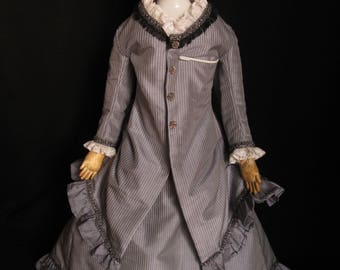 Antique German Porcelain Doll by Conta & Boehme, Leather Body German Porcelain Shoulder Head Doll with Dolly Madison Hairstyle, ca. 1870-80