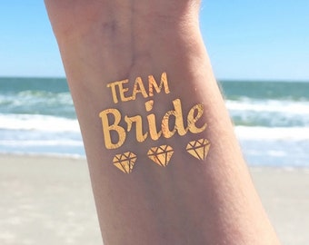 Bachelorette Party, Bachelorette Party Favor Tattoo, Bachelorette Tattoo, Gold Tattoo, Metallic Bachelorette Party Favor, Team Bride Favor