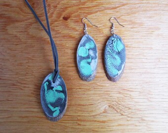 Set Necklace and Earrings, Painted Wood, Art Jewelry, Unique Handmade Jewelry Sets, Wooden, Dangling Earrings, Long Necklace