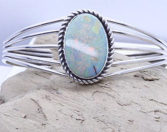 Stunning Sterling Silver 925 Large White handcut Fire Opal cuff bracelet adjustable High Quality