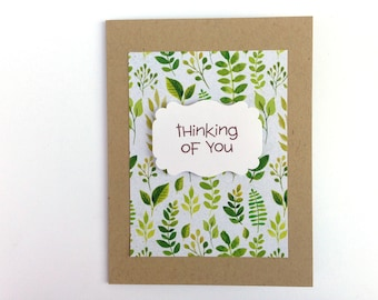 Thinking of You Card - Nature Card - Hiker Card - Tree Leaves Card - Card for Him - Hello Card for Him - Miss You Card - Handmade Greeting