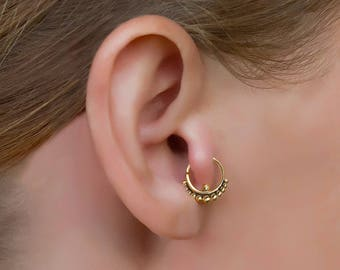 Gold tragus earring. gold helix earring. tragus piercing. tragus hoop. tiny hoop earrings. cartilage ring. cartilage earring.