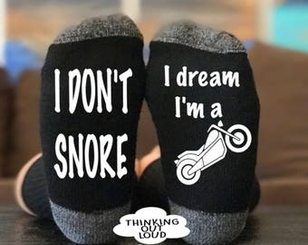 I Don't Snore- I dream I'm a motorcycle - Socks - Funny Novelty Gag Gift Idea- Funny Socks- Birthday Gift- Christmas Gift- Unisex Socks