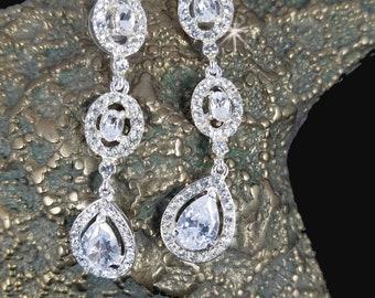 CZ Statement Earrings, Wedding Earrings, Long Drop Earrings,  Prom Earrings, Pageant Earrings, Bridal Earrings, Statement Earrings,