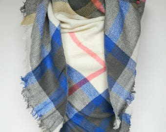 Blue and Cream Plaid Scarf, Winter Scarf, Plaid Scarf, Large Triangle Plaid Scarf, Plaid Shawl, Blanket Scarf, Women's Scarf, Ladies Gifts