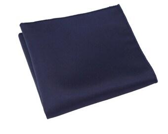 Dark Blue Pocket Square.Silk Handkerchief.Blue Weddings. Mens Pocket Square