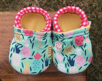 Baby Shoes for Girls - Colorful Pineapple Print with Red Gingham - Custom Sizes 0-24 months 2T-4T