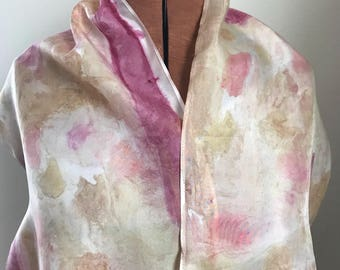 Handpainted naturally dyed silk scarf - unique, one of a kind, plant dyed eco friendly fashion