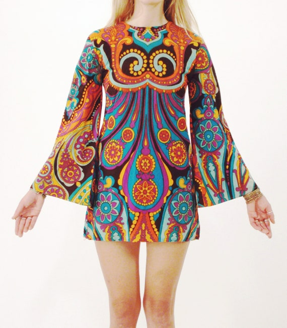 Vtg 60s Psychedelic Bell Sleeve Mini Dress S