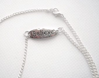 inspirational necklace - inspirational stamped necklace - believe necklace - stamped jewelry necklace - inspirational jewelry - stamped