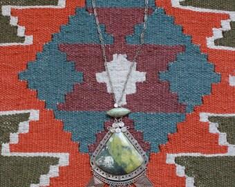Antique Bolivian Lizardite Crystal Mineral Ethnic Festival Necklace