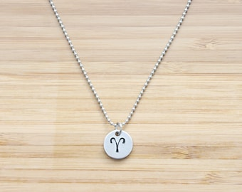 hand stamped charm necklace   zodiac - small