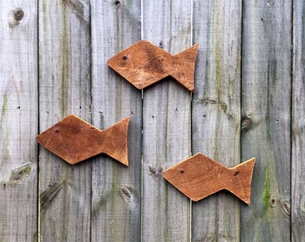 "Rustic 10"" School of Fish Wall Decor made with pallet wood  - great for lake house decor, a beach house or ocean decor"