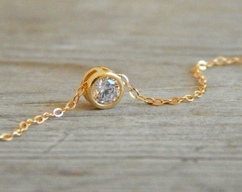 Dainty gold necklace, Solitaire cz necklace, Floating diamond necklace, Cz diamond, Dainty necklace