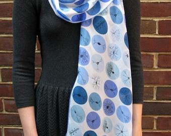 Neuron Dots Silk Chiffon Scarf - blue on white