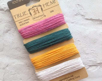2 Ply 100% Cotton Bakers Twine - Spring - Hemptique - 4 x 9.1m Card
