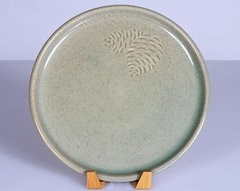 Large Handmade Ceramic Pine-Cone Plate in Celadon Green - Serving Platter, Dinner Plate, Charger, Stoneware Dinnerware, Botanical Home Decor