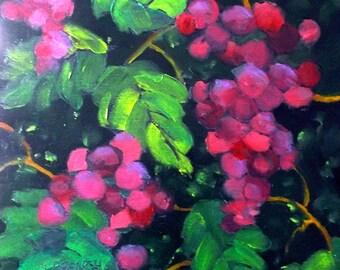 Summer Garden Vineyard Arbor Red Grapes Painting Impressionist Art Fruit Still Life Lynne French 12x12