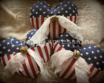 Patriotic Heart Decor | Handcrafted Patriotic Hearts | Primitive Heart Bowl Fillers | 4th of July decoration | Primitive Patriotic decor
