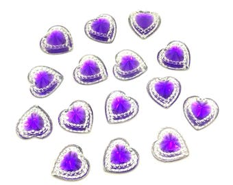 50 Flat Backed Heart Gems Clear With PURPLE Center Diamante Rhinestones Resin Crystals Stick on Gems Embellishments, For Crafts, Invitations