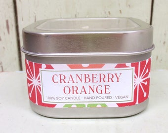 Cranberry Orange Soy Candle 8 oz. - Green Daffodil Soy Candleworks - Handpoured - Siouxsan and Anne -C8 - Christmas