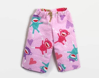 """18 Inch Doll Clothes - Pink Sock Monkey Pajama Pants - Made to Fit 18"""" Dolls Like American Girl Doll Clothes"""
