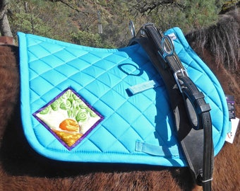 Be Spunky! Aqua Blue Pony Saddlepad for English Saddles from The Carrot Collection CP-78