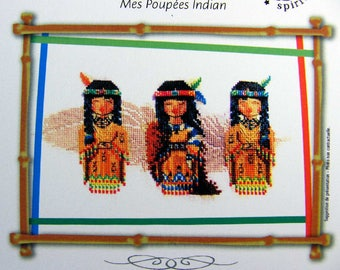 My American Indian Dolls – a lovely counted cross stitch chart with 3 dolls and a feather in the background. Chart, key in English or French
