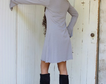 Daria Long Sleeve Tunic Dress - Organic Fabric - Made to Order - Choose Your Color