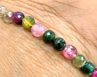 5.50 MM Multi Tourmaline Fac. Round Bracelet