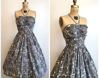 1950s Halter Dress 50s Gray Floral Sundress