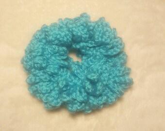 Turquoise Crochet Hair Scrunchie, Hair Tie, Scrunchies, Scunchi, Hair Accessories