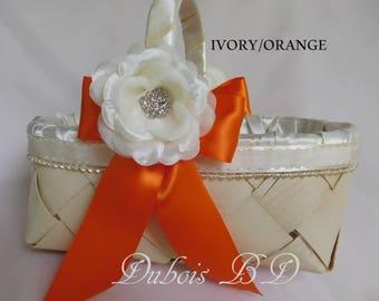 Wedding basket, Flower girl basket, Ivory Flower girl basket,  Wedding decoration, Burgundy basket, Navy blue basket, rustic basket