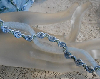 Pale Blue Rosette Net Trim