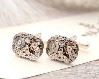 Sterling Cufflinks Christmas Gifts for Men Steampunk Cufflink Business Wear Rectangular Timepiece Cuff links on Sterling Silver