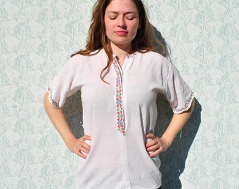 Embroidered shirt, embroidered blouse, embroidered top, folk blouse, ethnic blouse, embroidered gauze blouse