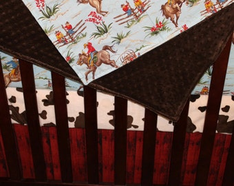 Barn Dandy Cowboy Rodeo and Minky Blanket