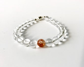 Quartz Crystal and Sunstone bracelet