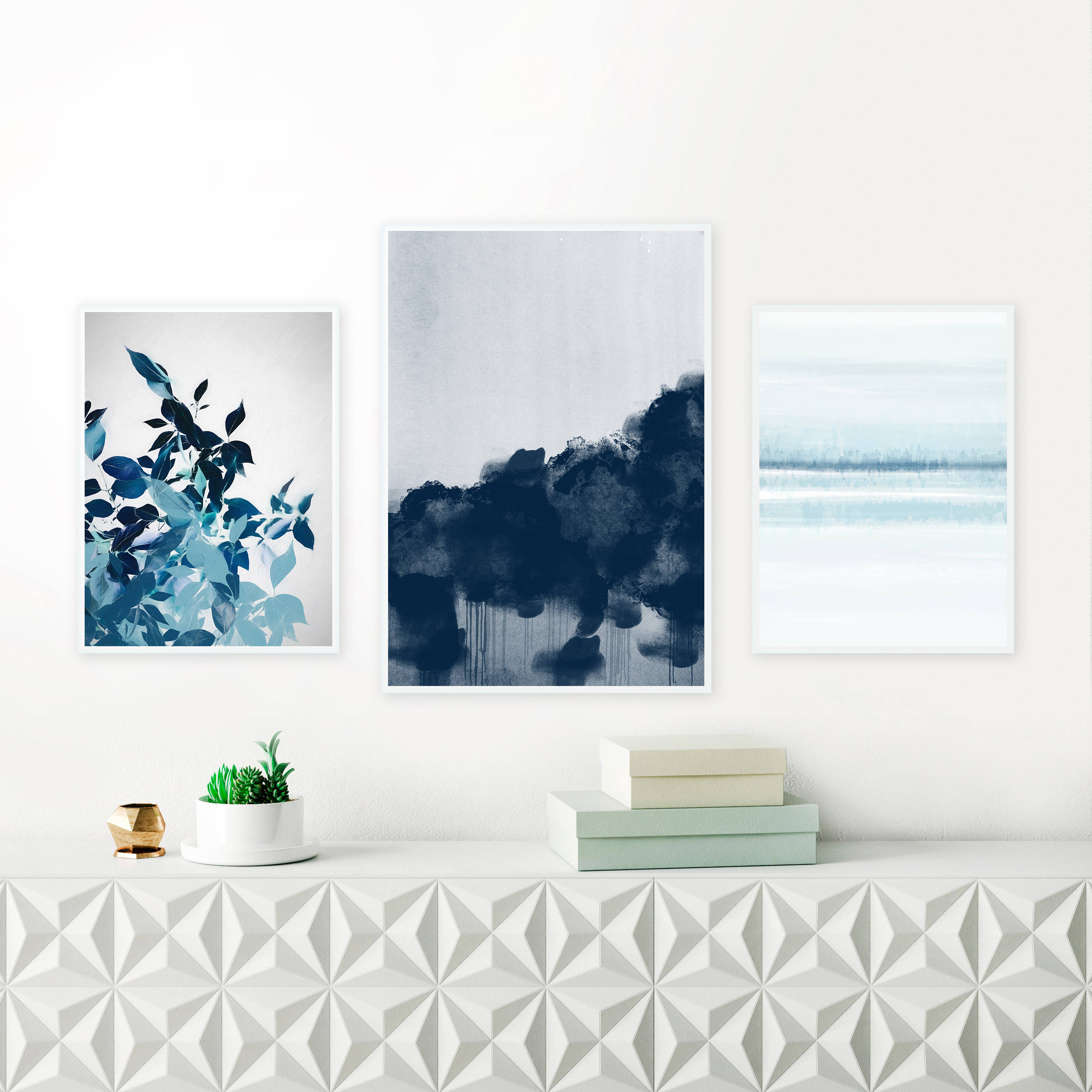Navy blue abstract paintings set of 3 framed gallery wall prints jeuxipadfo Gallery