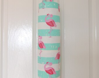 Plastic bag holder. Pink Flamingoes. Pink with aqua and white stripes. Plastic bag dispencer. reusable. house warming gift. hostess gift.