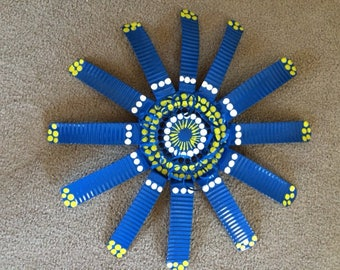 18 inch Single Layer Blue, Lime Green, and White Wall Flower