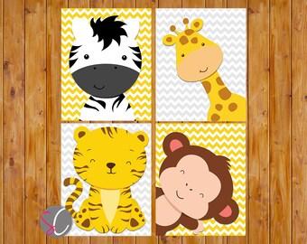Jungle Animals Nursery Zoo Wall Art Decor Giraffe Zebra Monkey Tiger Grey Yellow Gender Neutral DIGITAL 8x10 JPG Files Instant download
